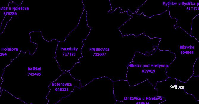 Katastrální mapa Prusinovice - přehledová mapa katastrálního území