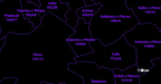 Katastrální mapa Kozlovice u Přerova - přehledová mapa katastrálního území