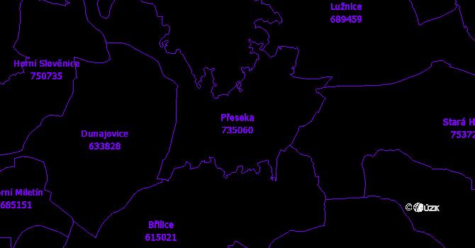 Katastrální mapa Přeseka - přehledová mapa katastrálního území