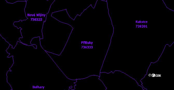 Katastrální mapa Přítluky - přehledová mapa katastrálního území