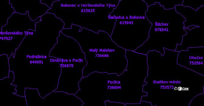 Katastrální mapa Malý Malahov - přehledová mapa katastrálního území