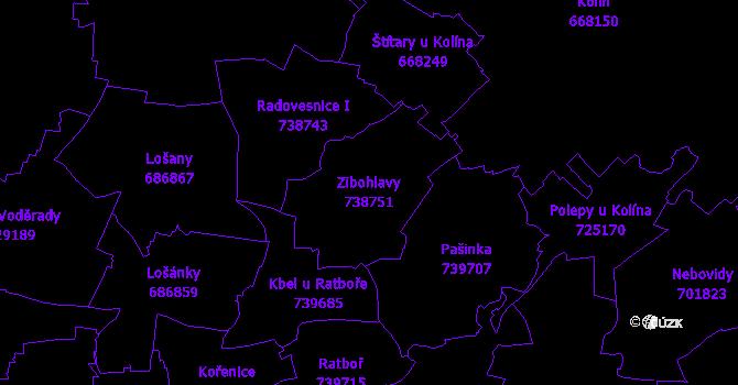 Katastrální mapa Zibohlavy - přehledová mapa katastrálního území