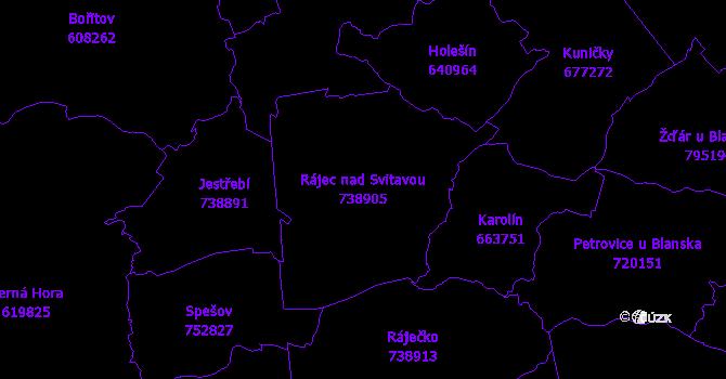 Katastrální mapa Rájec nad Svitavou - přehledová mapa katastrálního území