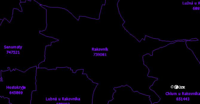 Katastrální mapa Rakovník - přehledová mapa katastrálního území