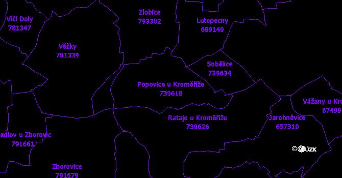 Katastrální mapa Popovice u Kroměříže