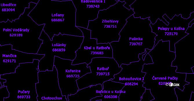 Katastrální mapa Kbel u Ratboře - přehledová mapa katastrálního území