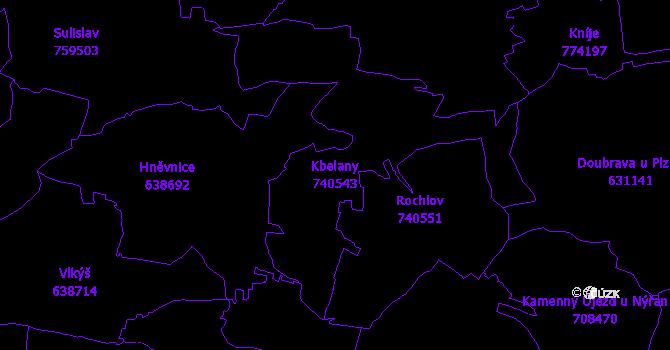 Katastrální mapa Kbelany - přehledová mapa katastrálního území