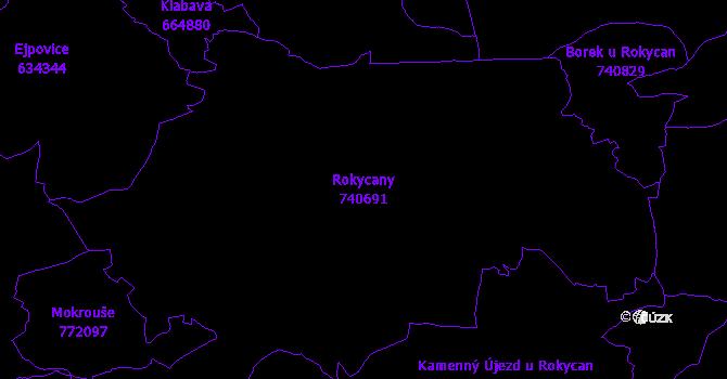 Katastrální mapa Rokycany - přehledová mapa katastrálního území