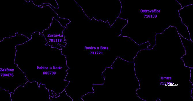 Katastrální mapa Rosice u Brna - přehledová mapa katastrálního území
