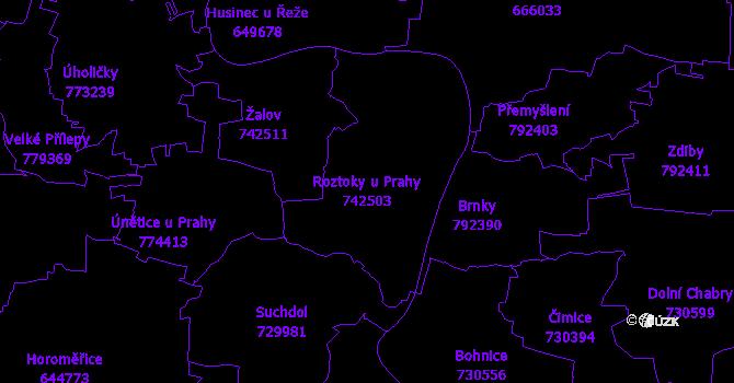 Katastrální mapa Roztoky u Prahy - přehledová mapa katastrálního území