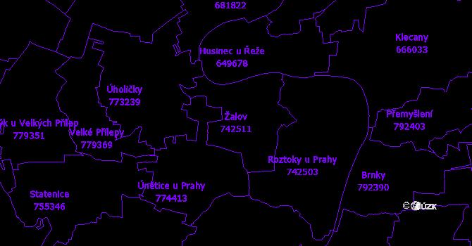 Katastrální mapa Žalov - přehledová mapa katastrálního území