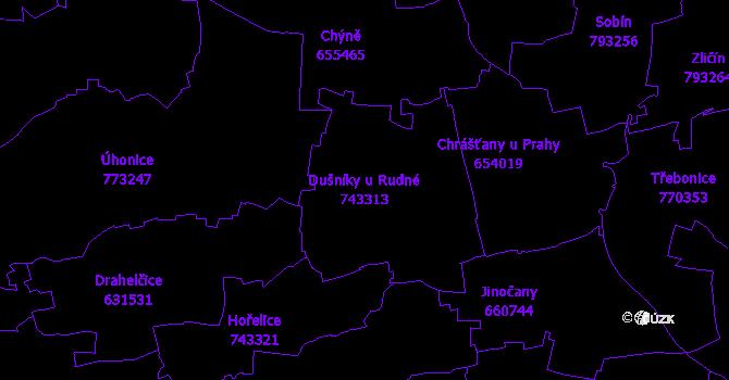 Katastrální mapa Dušníky u Rudné - přehledová mapa katastrálního území