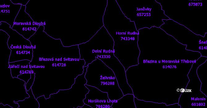 Katastrální mapa Dolní Rudná