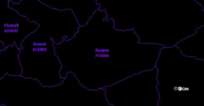 Katastrální mapa Rusava - přehledová mapa katastrálního území