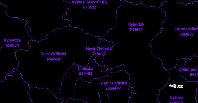 Katastrální mapa Nová Chřibská - přehledová mapa katastrálního území