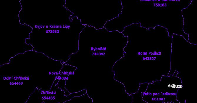 Katastrální mapa Rybniště - přehledová mapa katastrálního území