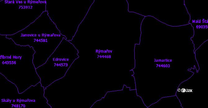 Katastrální mapa Rýmařov - přehledová mapa katastrálního území