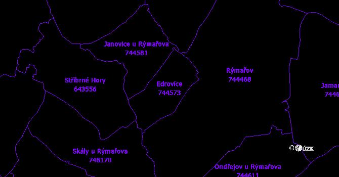 Katastrální mapa Edrovice - přehledová mapa katastrálního území