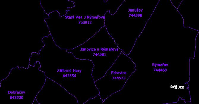Katastrální mapa Janovice u Rýmařova - přehledová mapa katastrálního území
