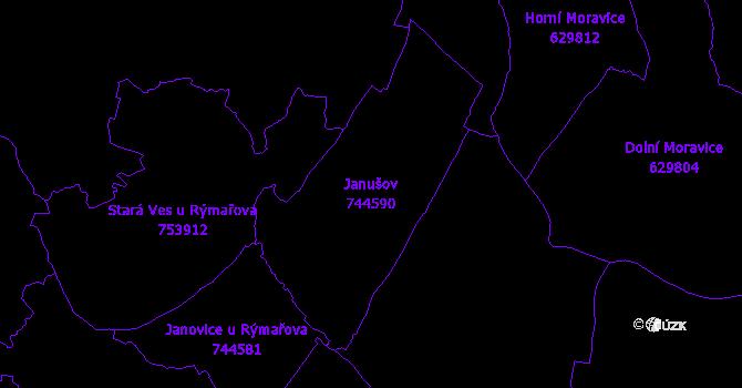 Katastrální mapa Janušov - přehledová mapa katastrálního území
