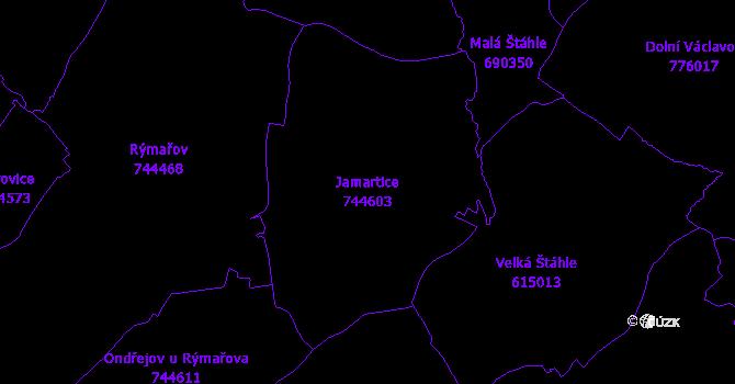 Katastrální mapa Jamartice - přehledová mapa katastrálního území