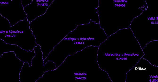 Katastrální mapa Ondřejov u Rýmařova - přehledová mapa katastrálního území