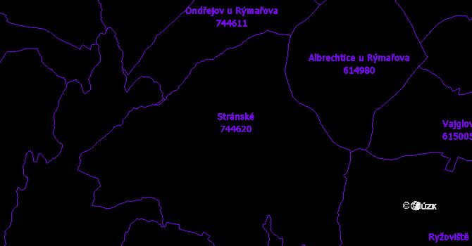 Katastrální mapa Stránské - přehledová mapa katastrálního území
