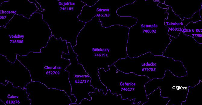 Katastrální mapa Bělokozly - přehledová mapa katastrálního území