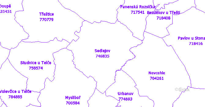 Katastrální mapa Sedlejov - přehledová mapa katastrálního území