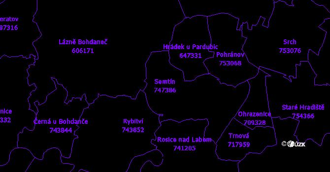 Katastrální mapa Semtín - přehledová mapa katastrálního území