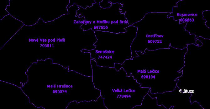 Katastrální mapa Senešnice - přehledová mapa katastrálního území