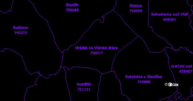 Katastrální mapa Hrádek na Vlárské dráze - přehledová mapa katastrálního území