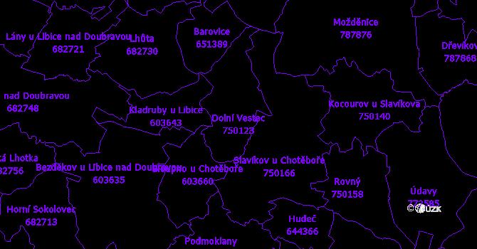 Katastrální mapa Dolní Vestec - přehledová mapa katastrálního území