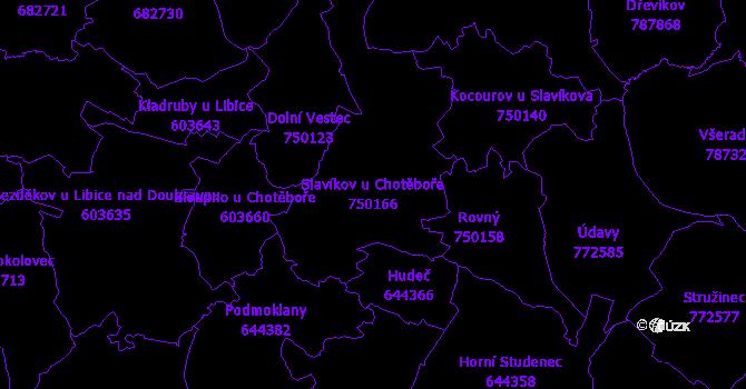Katastrální mapa Slavíkov u Chotěboře - přehledová mapa katastrálního území