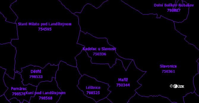 Katastrální mapa Kadolec u Slavonic - přehledová mapa katastrálního území