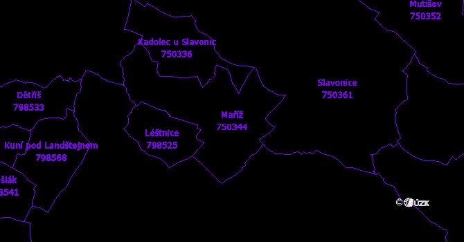 Katastrální mapa Maříž - přehledová mapa katastrálního území
