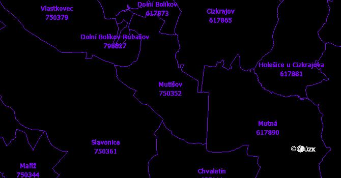 Katastrální mapa Mutišov - přehledová mapa katastrálního území