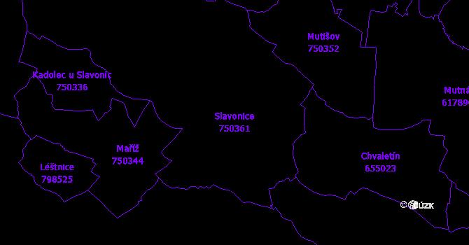 Katastrální mapa Slavonice - přehledová mapa katastrálního území