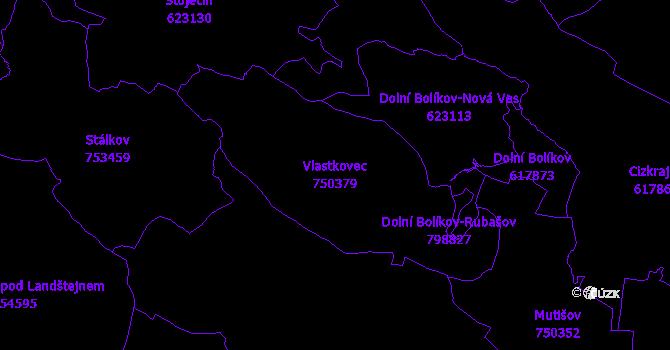 Katastrální mapa Vlastkovec - přehledová mapa katastrálního území