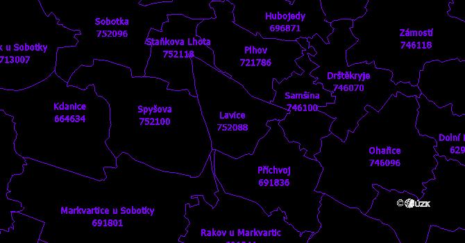 Katastrální mapa Lavice - přehledová mapa katastrálního území