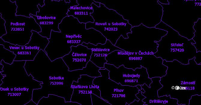 Katastrální mapa Stéblovice - přehledová mapa katastrálního území
