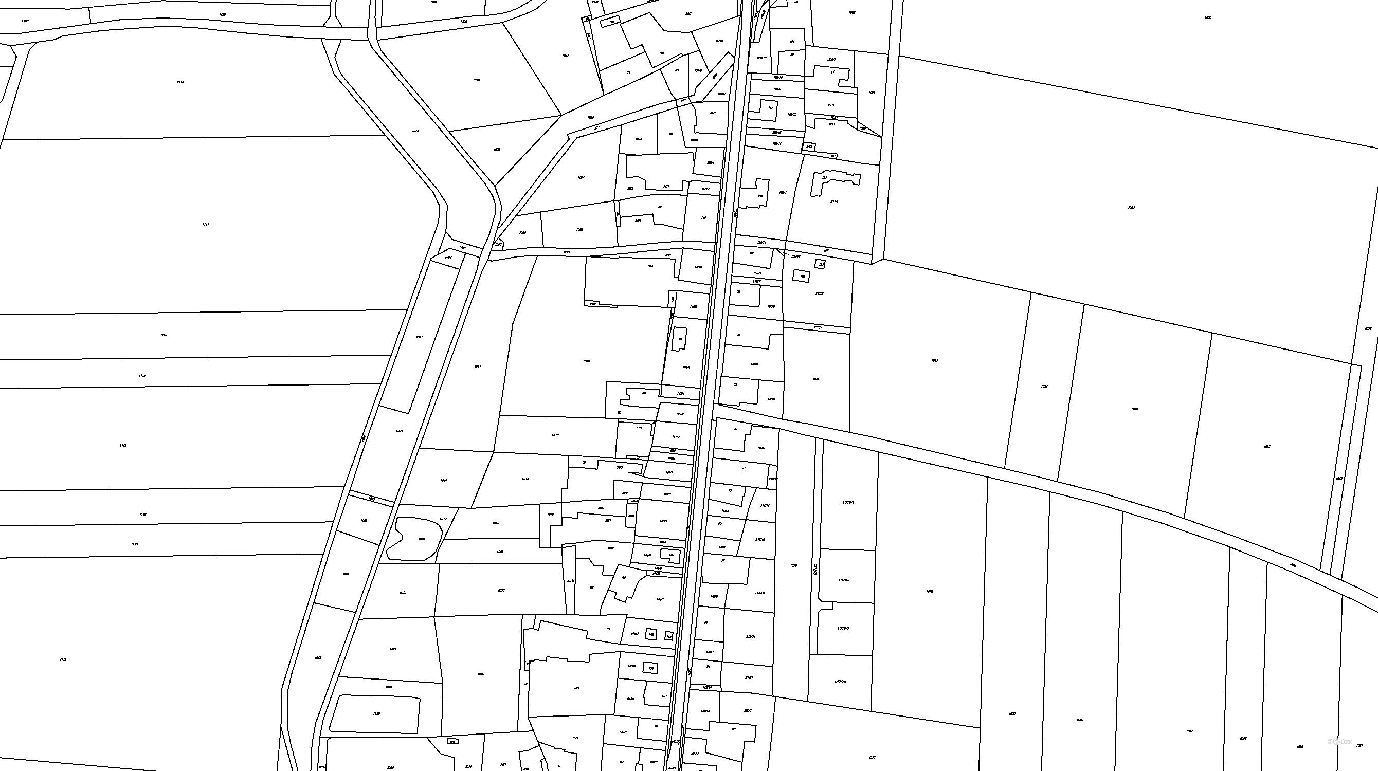 Katastrální mapa pozemků a čísla parcel Sopřeč
