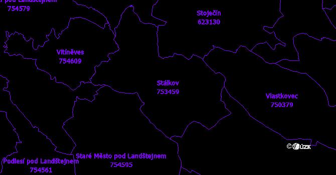 Katastrální mapa Stálkov - přehledová mapa katastrálního území