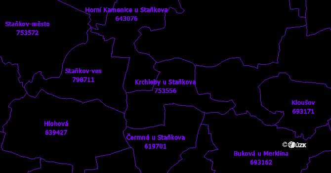 Katastrální mapa Krchleby u Staňkova - přehledová mapa katastrálního území