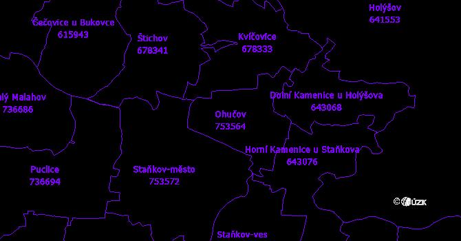 Katastrální mapa Ohučov - přehledová mapa katastrálního území