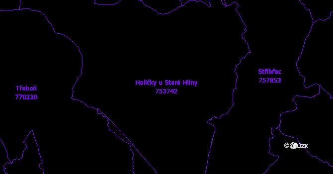 Katastrální mapa Holičky u Staré Hlíny - přehledová mapa katastrálního území
