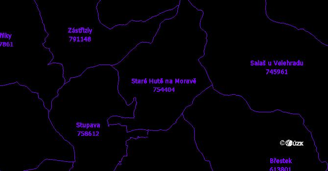 Katastrální mapa Staré Hutě na Moravě - přehledová mapa katastrálního území