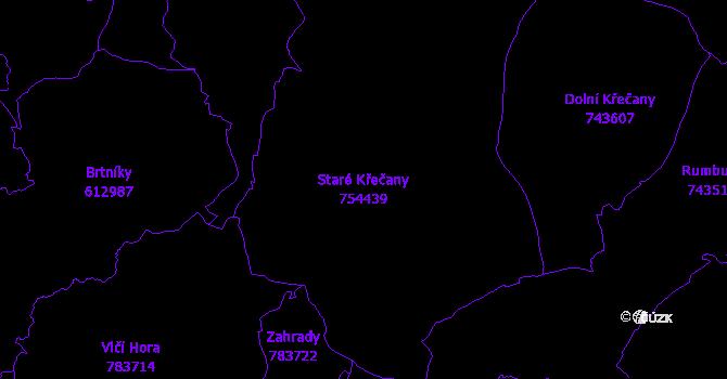 Katastrální mapa Staré Křečany - přehledová mapa katastrálního území
