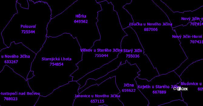 Katastrální mapa Vlčnov u Starého Jičína - přehledová mapa katastrálního území
