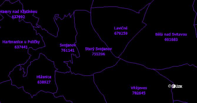 Katastrální mapa Starý Svojanov - přehledová mapa katastrálního území